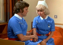 Kenneth Cope & Barbara Windsor in 'Carry On Matron' (1972)