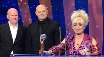 Barbara Windsor receives her 'Lifetime Achievement Award' from Steve McFadyen & Ross Kemp in 1999
