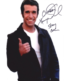 Henry Winkler has signed this photograph of him as The Fonz from 'Happy Days'