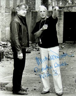 Signed photograph of Michael Winner with Charles Bronson during the making of 'Death Wish 3'