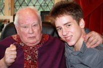 Ciaran Brown with Sir Patrick Moore at Farthings