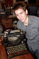 Ciaran Brown with Sir Patrick Moore's Woodstock typewriter