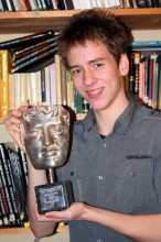 I am holding Patrick's BAFTA 'Special Award', which was presented to him by Buzz Aldrin