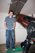 Inside Patrick's large observatory with his 15 inch reflector telescope