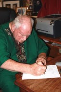 Sir Patrick Moore signing Ciaran Brown's letter