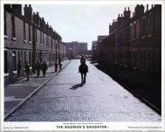 Still 1 from 'The Ragman's Daughter' showing Victoria Tennant riding a horse along Brand Street, Nottingham