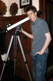 In the hallway at Farthings with one of Patrick's modern telescopes